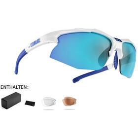 Bliz Hybrid M12 Okulary Smallface, white/smoke with blue multi